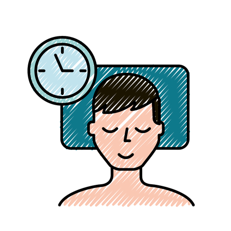 man sleeping on the bed clock time vector illustration Illustration