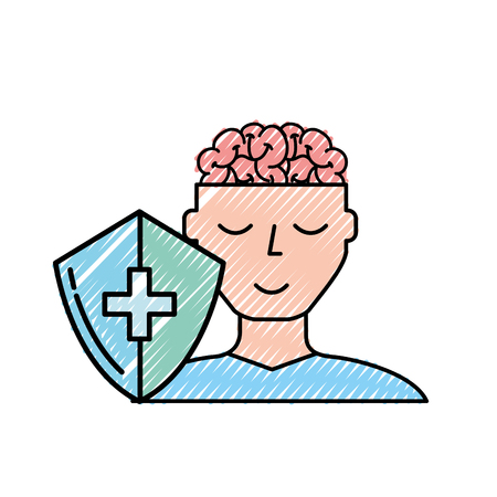 human portrait man brain mental healthcare vector illustration