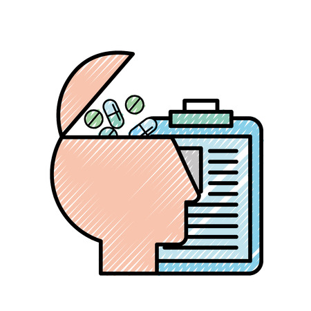 profile human pills medicine clipboard medical report vector illustration Banque d'images - 108257465