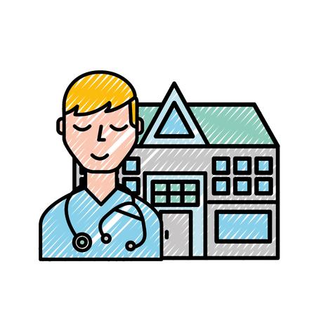 doctor staff hospital building medical vector illustration Illustration