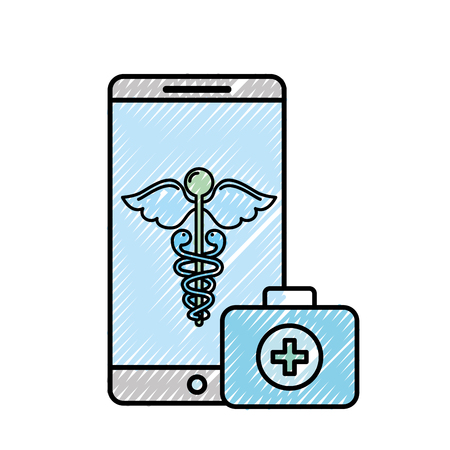 smartphone caduceus medical first aid app vector illustration