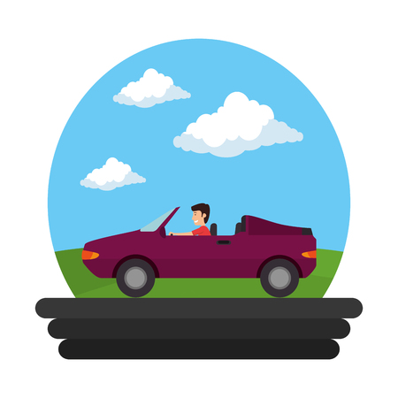 convertible car vehicle on the road vector illustration design