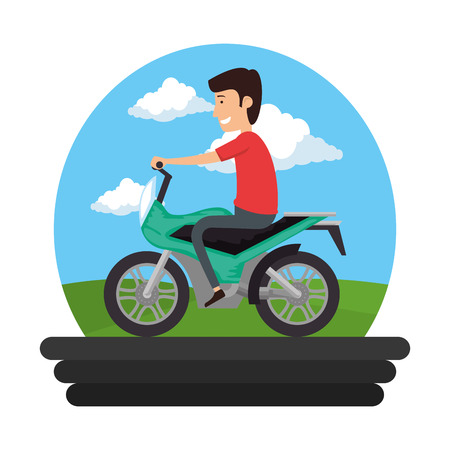 motorcycle sport with driver on the road vector illustration design