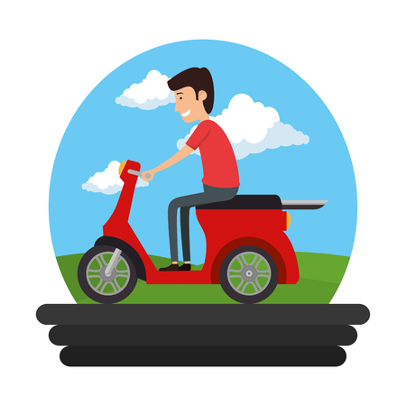 scooter bike with driver on the road vector illustration design