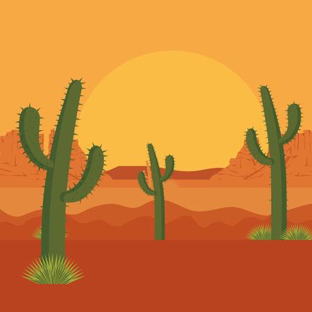 desert with cactus scene vector illustration design