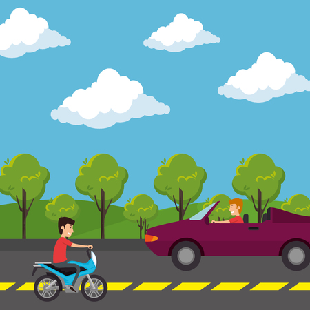 urban road with car and motorcycle scene vector illustration design