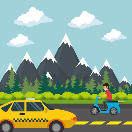 urban road with taxi and motorcycle vector illustration design