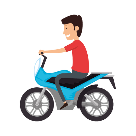 motorcycle sport with driver vector illustration design