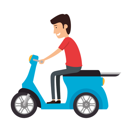 scooter bike with driver vector illustration design