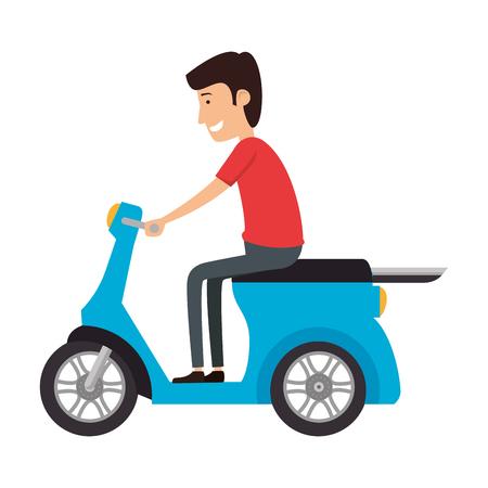 scooter bike with driver vector illustration design