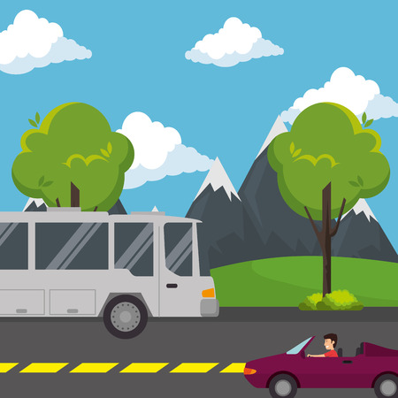 urban road with car and bus vector illustration design Ilustração