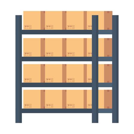 magazijn rekken met dozen vector illustratie ontwerp