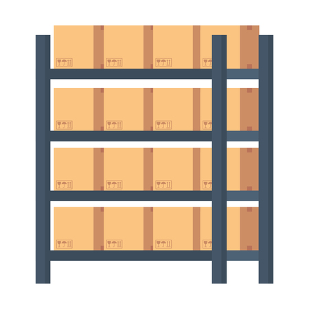 warehouse shelving with boxes vector illustration design Illustration