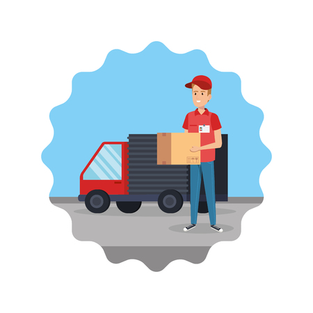 delivery worker lifting box with truck vector illustration design