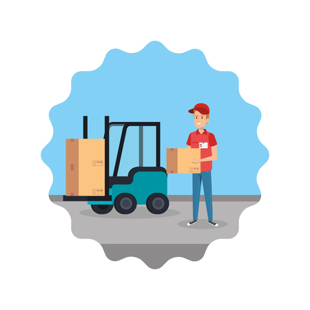 delivery worker lifting box with forklift vector illustration design