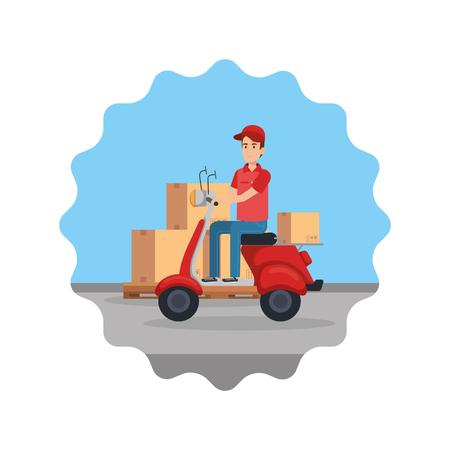 Trabajador de entrega en motocicleta y cajas, diseño de ilustraciones vectoriales