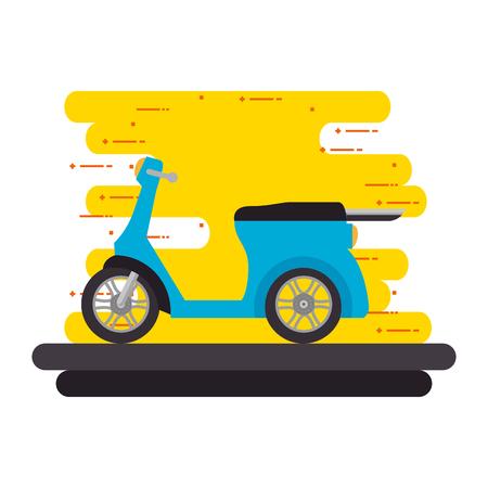 autoped fiets op het ontwerp van de weg vectorillustratie Vector Illustratie