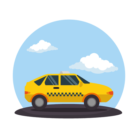 taxi public service on road vector illustration design