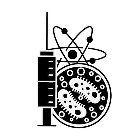 science syringe bacteria biology molecule vector illustration
