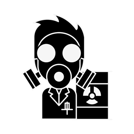 doctor mask protection hazard radiation barrel vector illustration Illustration
