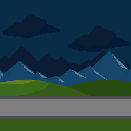 urban road night scenery icon vector illustration design  イラスト・ベクター素材