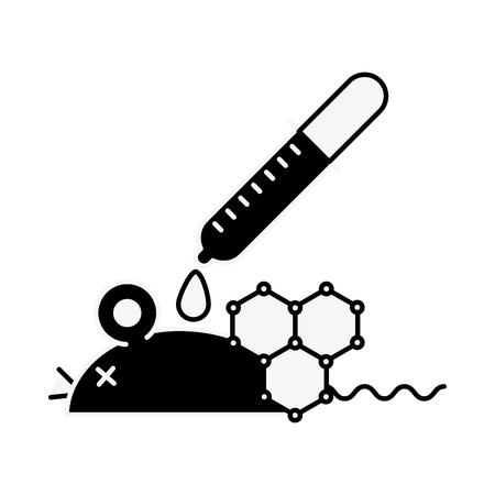 biology laboratory mouse dropper pouring liquid vector illustration