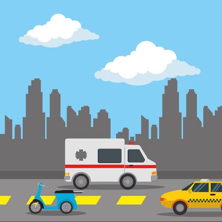 urban road with taxi and ambulance vector illustration design Ilustração