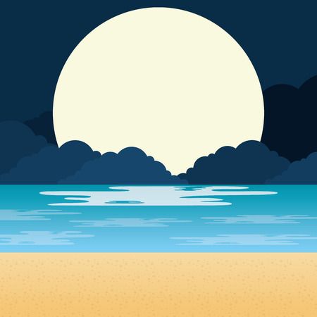 beach landscape at night scene vector illustration design