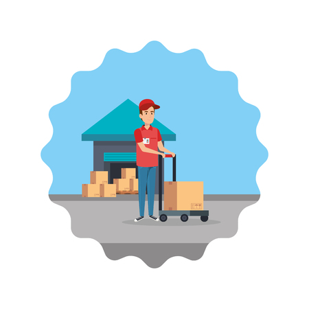 delivery worker with cart and warehouse s vector illustration design