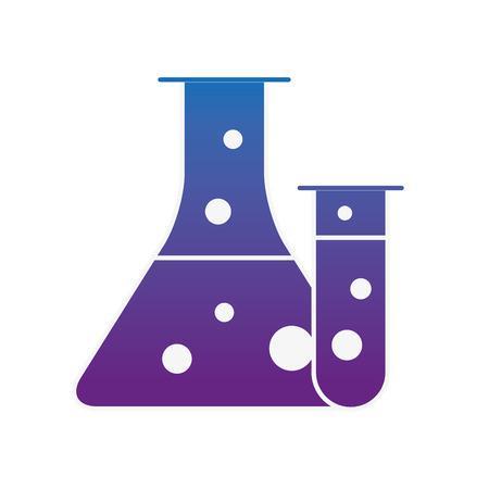 science laboratory test tube beaker flask vector illustration neon image Illustration