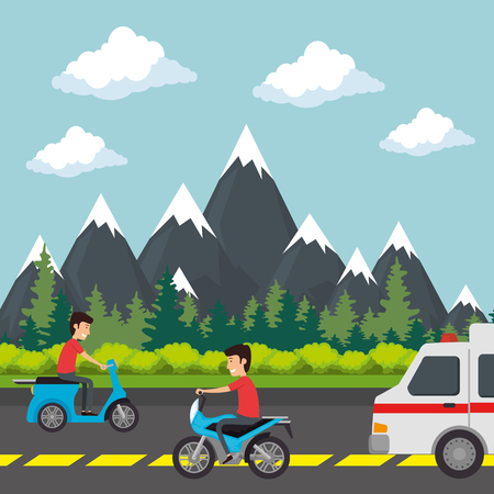 urban road with ambulance and motorcycle vector illustration design