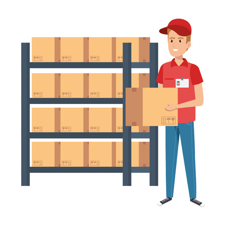 delivery worker lifting box with shelving vector illustration design