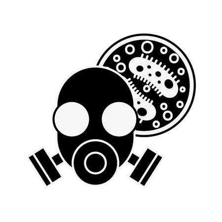respirator mask virus infection danger chemistry laboratory vector illustration Illustration