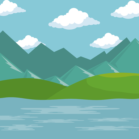 landscape with lake scene vector illustration design