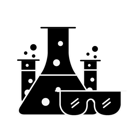 test tube flasks glasses protection chemistry laboratory vector illustration Ilustração