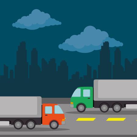 urban road with trucks scenery icon vector illustration design