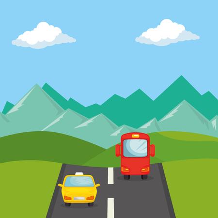Vía urbana con taxi y autobús, diseño de ilustraciones vectoriales Ilustración de vector