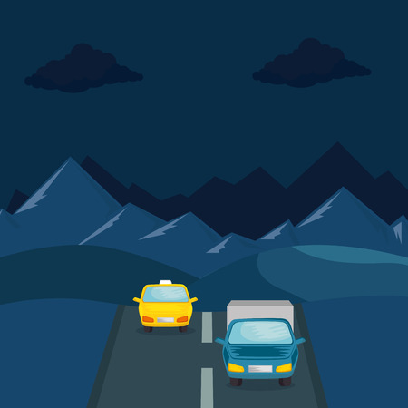 urban road with taxi and truck vector illustration design