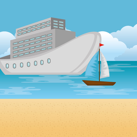 beach landscape at day with cruice and sailboat vector illustration design Stok Fotoğraf - 109992250