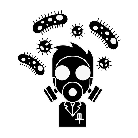 scientific man with mask and bacteries chemistry laboratory vector illustration