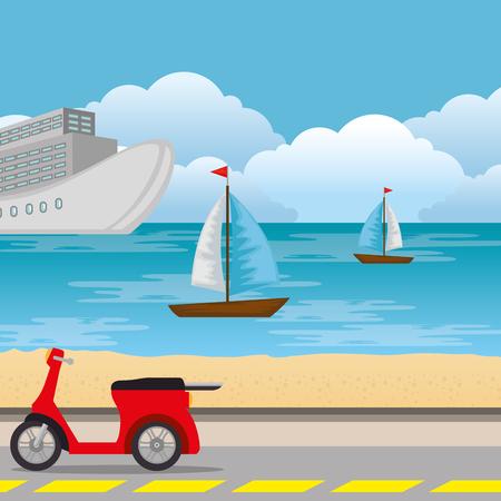 urban road scenery icon vector illustration design Illustration