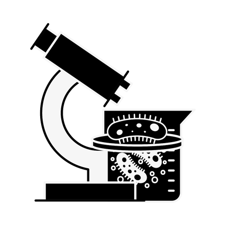 microscope flask bacteries chemistry laboratory vector illustration