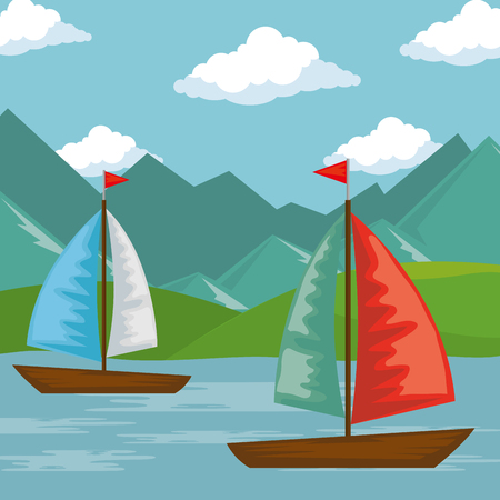 landscape with lake and sailboats scene vector illustration design