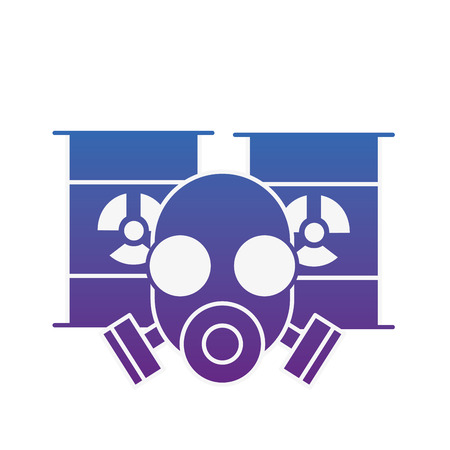 respirator protective mask and hazard barrels vector illustration neon image