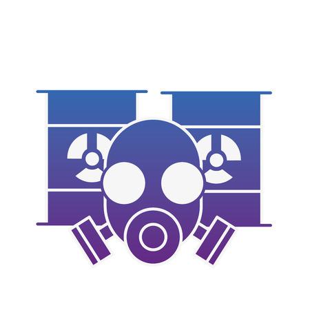 respirator protective mask and hazard barrels vector illustration neon image