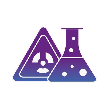 Peligro de radiación química tubo de ensayo ilustración vectorial imagen de neón