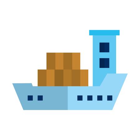 cargo ship isolated icon vector illustration design  イラスト・ベクター素材