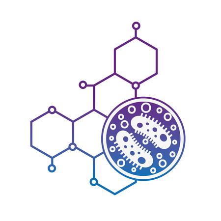 science laboratory petri dish bacteria molecule vector illustration neon image Illustration