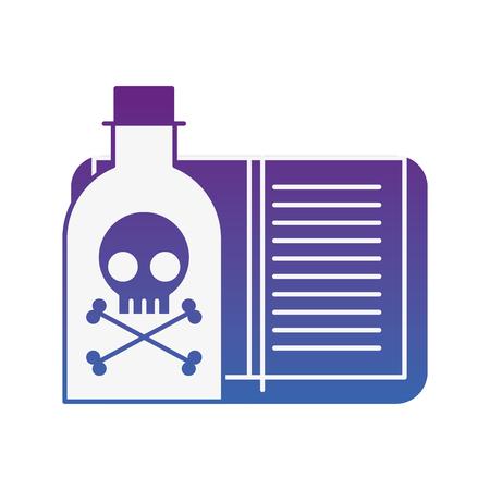 poison bottle hazard book laboratory vector illustration neon image Illustration