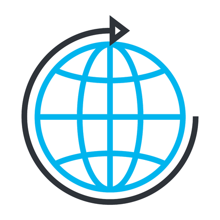 sphere planet with arrow around vector illustration design